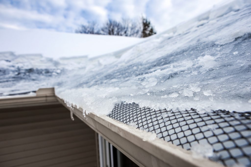 Ice Dam Forming Over Gutter System